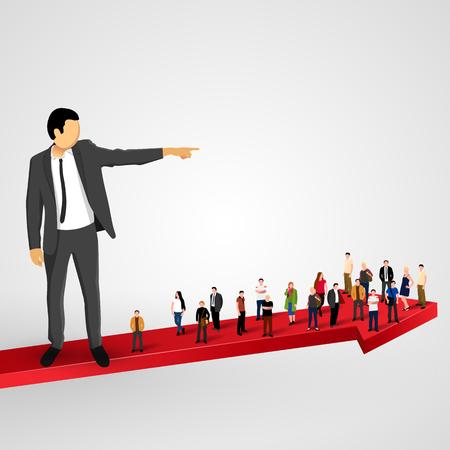 boss cartoon: Businessman sends the crowd ahead. Vector illustration