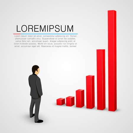 look: Businessman look at growing chart. Vector illustration Illustration