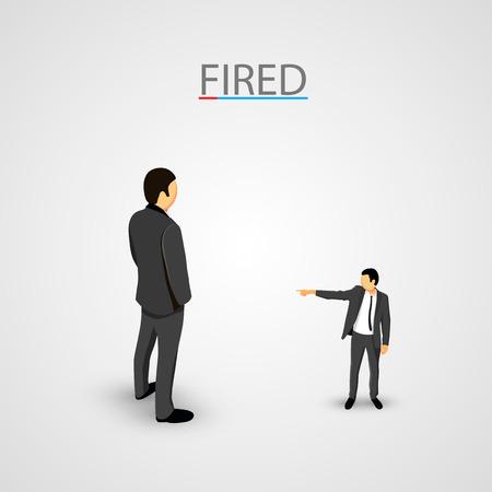 wayout: Businessman dismisses. Big man concept. Vector illustration