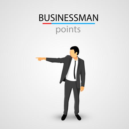 dismissal: Businessman in jacket points. Clean vector illustration