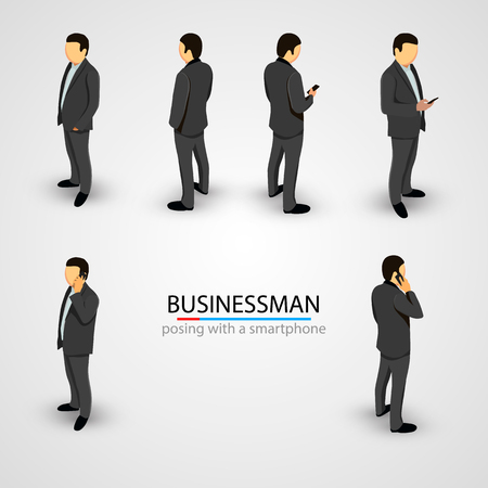 to phone calls: Businessman in various poses with mobile phone. Vector illustration