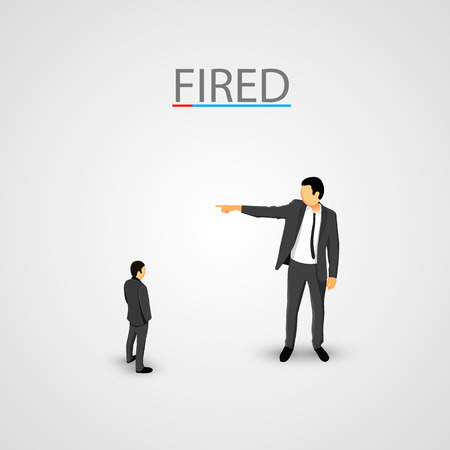 wayout: Businessman dismisses. Little man concept. Vector illustration