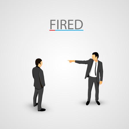 relaciones humanas: Businessman dismisses. Office concept. Clean Vector illustration
