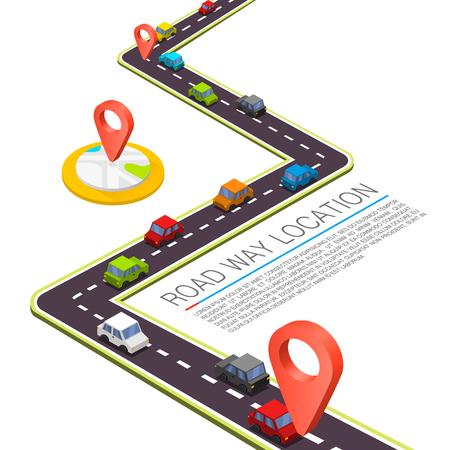 cab: Camino pavimentado en el camino. Vector de fondo Vectores