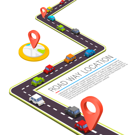 cars road: Paved path on the road. Vector background