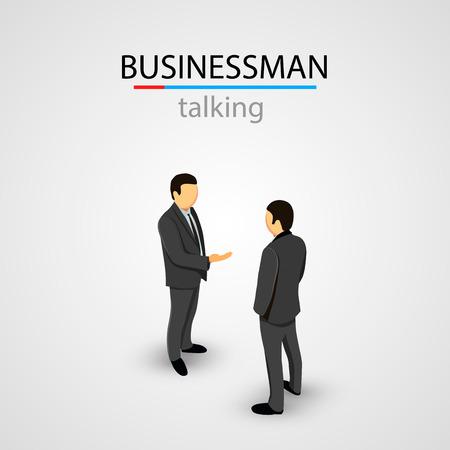 Two businessmen in suits talking. Vector illustration Illustration