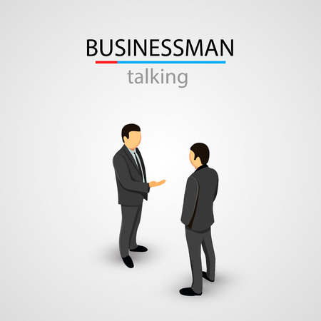 lobbying: Two businessmen in suits talking. Vector illustration Illustration