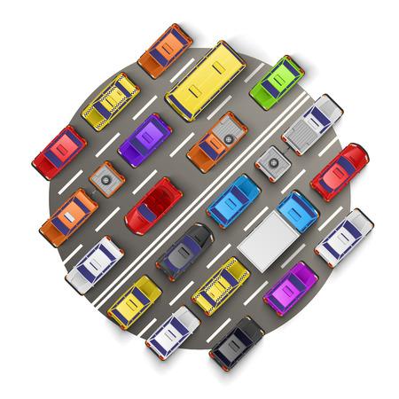 Traffic jam art banner art. Vector illustration  イラスト・ベクター素材