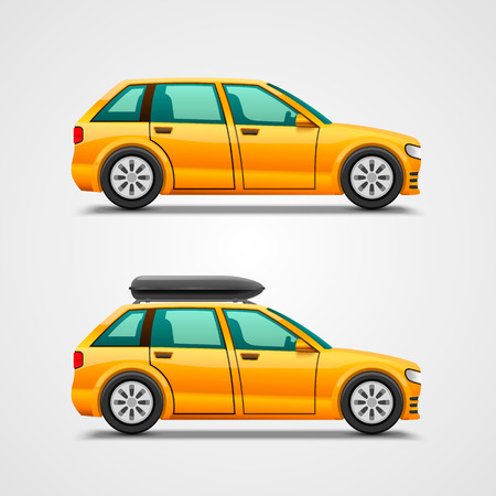 packed: Car with the luggage object. Vector illustration