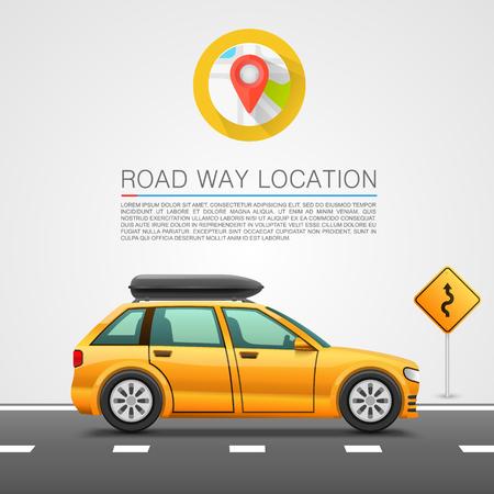 Car travel on the location. Vector illustration