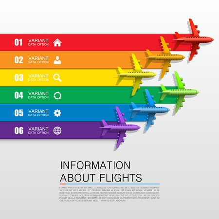 routes: Information about flights cover art. Vector illustration