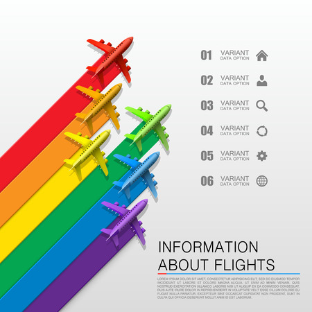 cover art: Information about flights cover art. Vector illustration