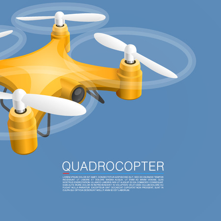 unmanned: Quadrocopter unmanned camera object cover. Vector Illustration Illustration