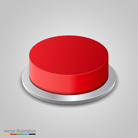 red button: Realistic red button on white background. Vector illustration Illustration