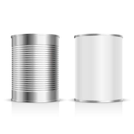 steel: Metal can on a white background. Vector Illustration