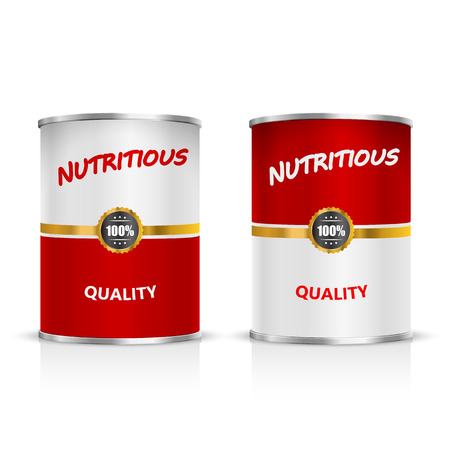 soup: Metal can on a white background. Vector Illustration