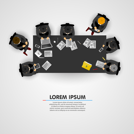 table top: Group of business people working in office. Vector illustration