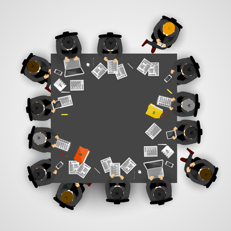round table: Group of business people working in office. Vector illustration