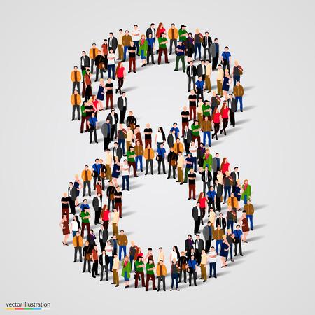 Grande gruppo di persone in numero 8 a forma di otto. Illustrazione vettoriale Vettoriali