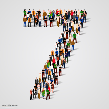 Große Gruppe von Menschen in Nummer 7 sieben Form. Vektor-Illustration Illustration