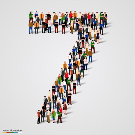 Grote groep mensen in nummer 7 zeven vorm. vector illustratie