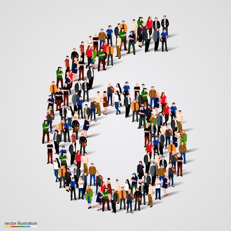 grupo: Gran grupo de personas en el número 6 de seis formulario. Ilustración vectorial