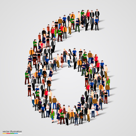 numbers abstract: Large group of people in number 6 six form. Vector illustration