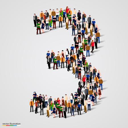 Große Gruppe von Menschen in Nummer 3 drei bilden. Vektor-Illustration