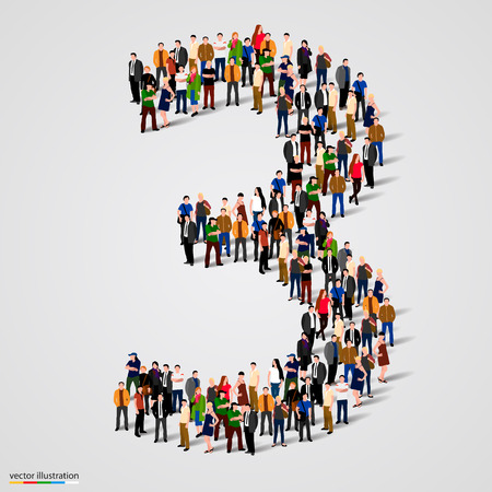 digit 3: Large group of people in number 3 three form. Vector illustration Illustration