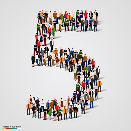 Gran grupo de personas en el número 5 cinco forman. ilustración vectorial Vectores