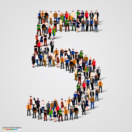 Große Gruppe von Menschen in der Zahl 5 Fünf Form. Vektor-Illustration