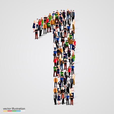 multitud gente: Gran grupo de personas en el número 1 de una forma. Ilustración vectorial