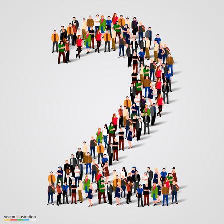 and people: Gran grupo de personas en el número 2 dos forman. Ilustración vectorial