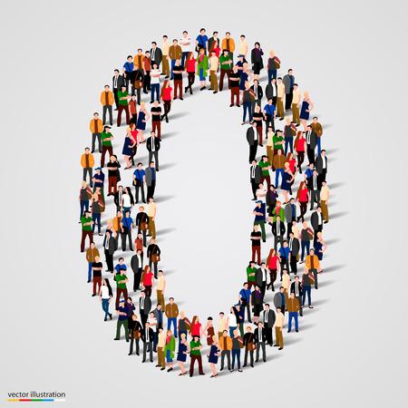 Gran grupo de personas en el número 1 de una forma. Ilustración vectorial
