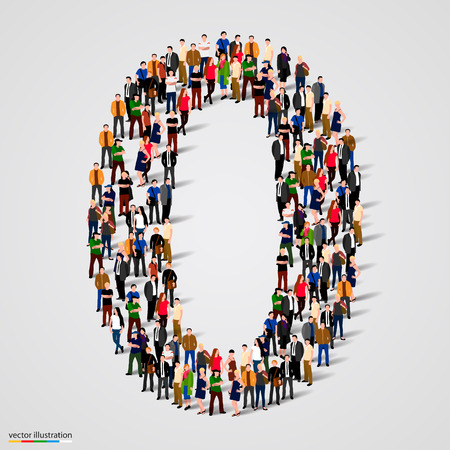 numbers abstract: Large group of people in number 1 one form. Vector illustration