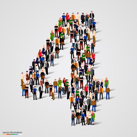 Grote groep mensen in nummer 1 één vorm. Vector illustratie Stock Illustratie