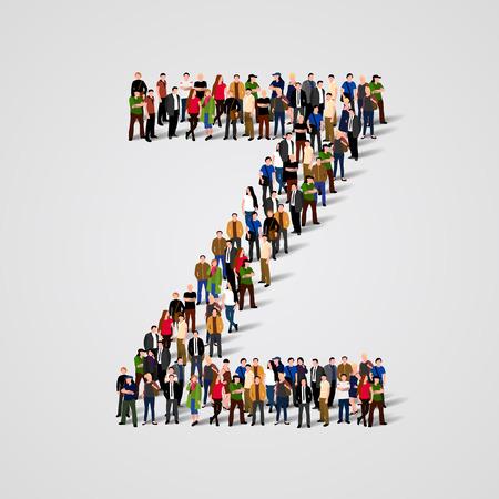 mucha gente: Gran grupo de personas en forma de Z carta. Vector de fondo sin fisuras Vectores