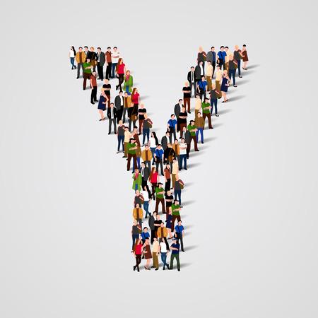 Gran grupo de personas en forma de carta Y. Vector de fondo sin fisuras Vectores