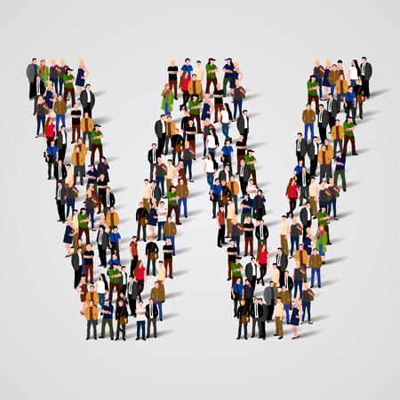persone: Grande gruppo di persone in lettera W forma. Vector background senza soluzione