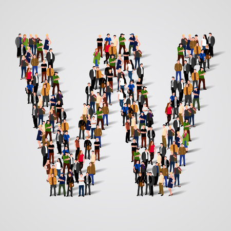 society: Large group of people in letter W form. Vector seamless background