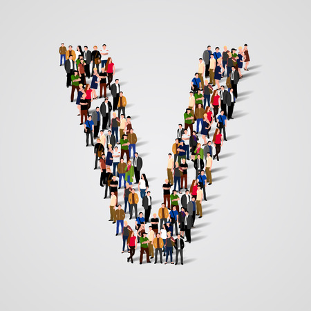 Large group of people in letter V form. Vector seamless background