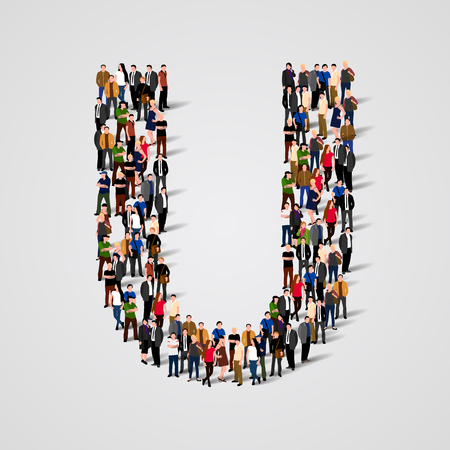 Large group of people in letter U form. Vector seamless background