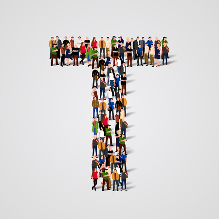 Large group of people in letter T form. Vector seamless background Illustration