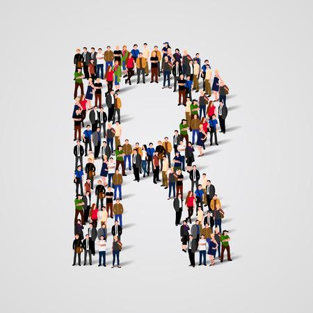 lettre alphabet: Grand groupe de personnes sous forme de lettre R. Vector seamless fond