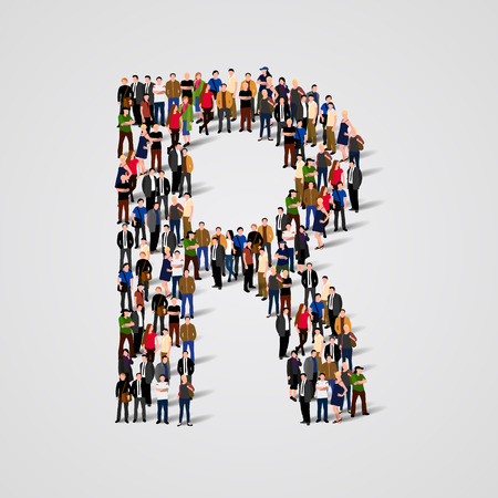 Large group of people in letter R form. Vector seamless background Çizim