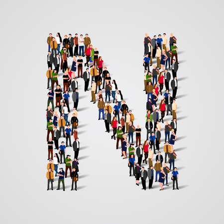 Large group of people in letter N form. Vector seamless background