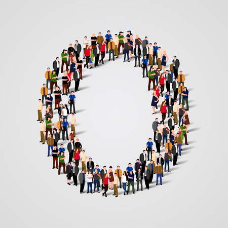 white people: Large group of people in letter O form. Vector seamless background