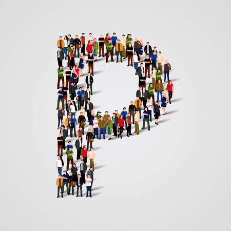 Large group of people in letter P form. Vector seamless background