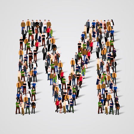 Large group of people in letter M form. Vector seamless background Illustration