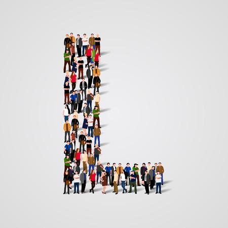 Gran grupo de personas en forma de carta L. Vector de fondo sin fisuras